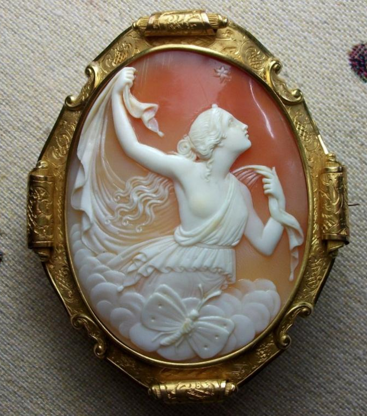 Gorgeous Shell Cameo Brooch of Psyche