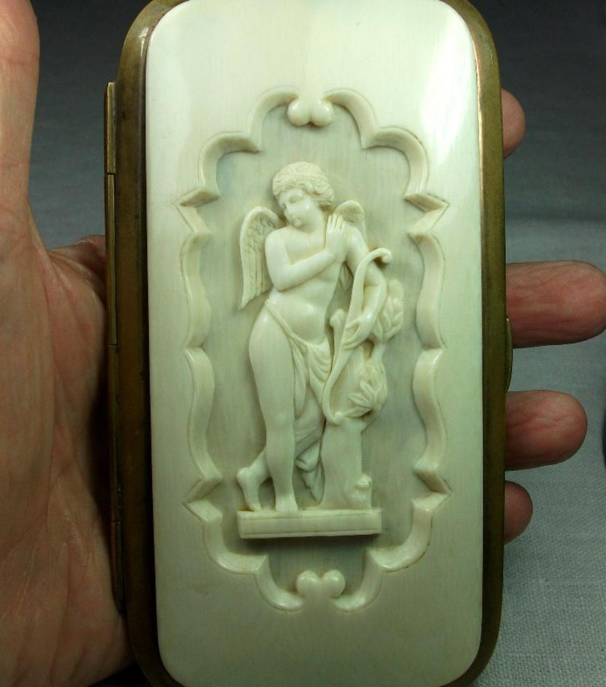 Rarest Ivory Cameo of Cupid on Eyeglasses Case