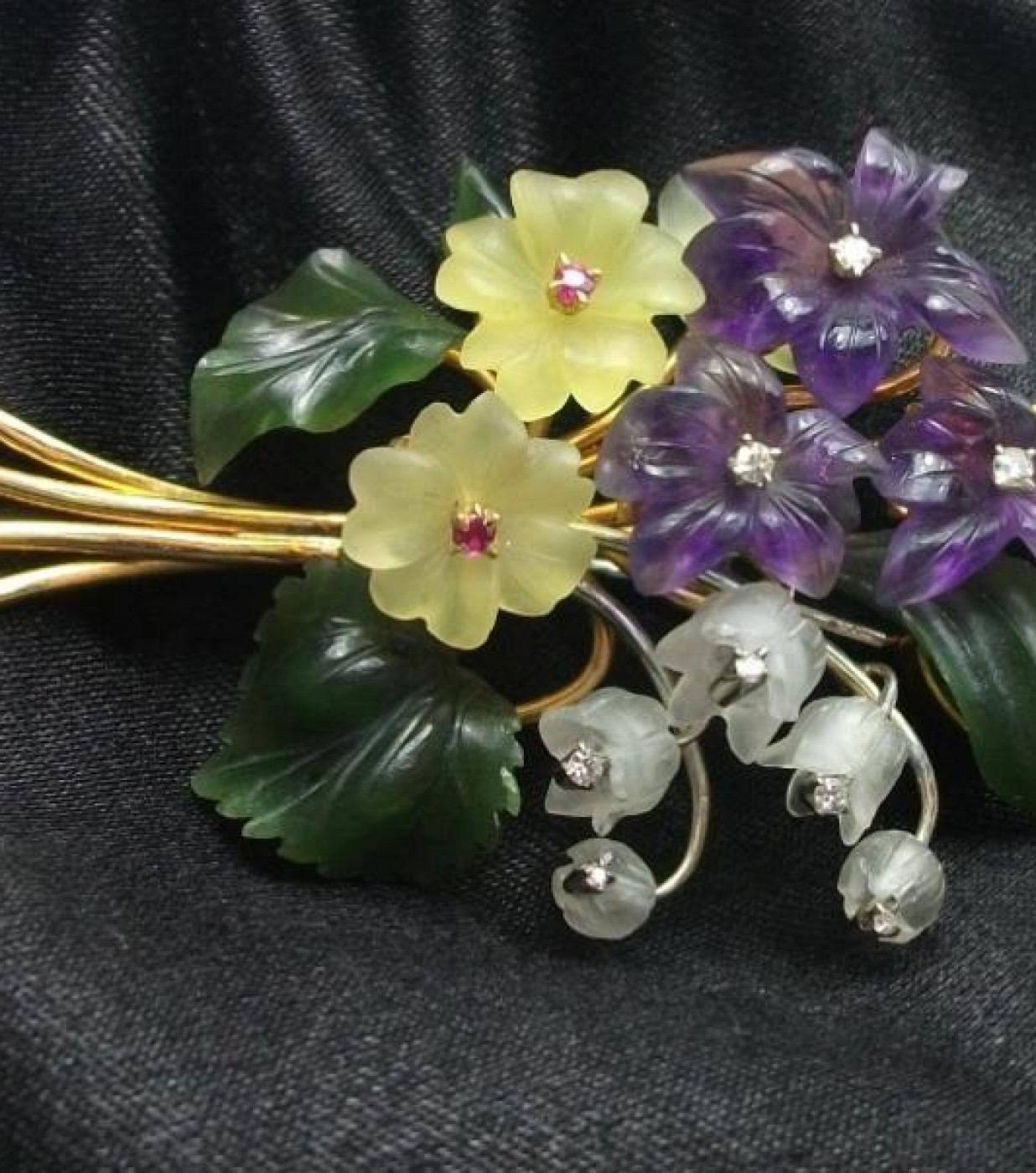 Bouquet of Violets, Lily of the Valley and Primroses Brooch