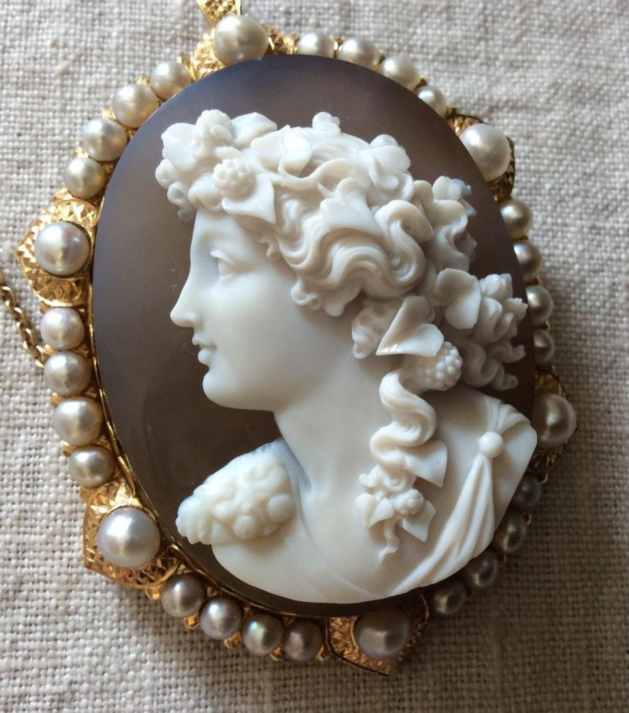Outstanding Hard Stone Cameo of a Bacchante