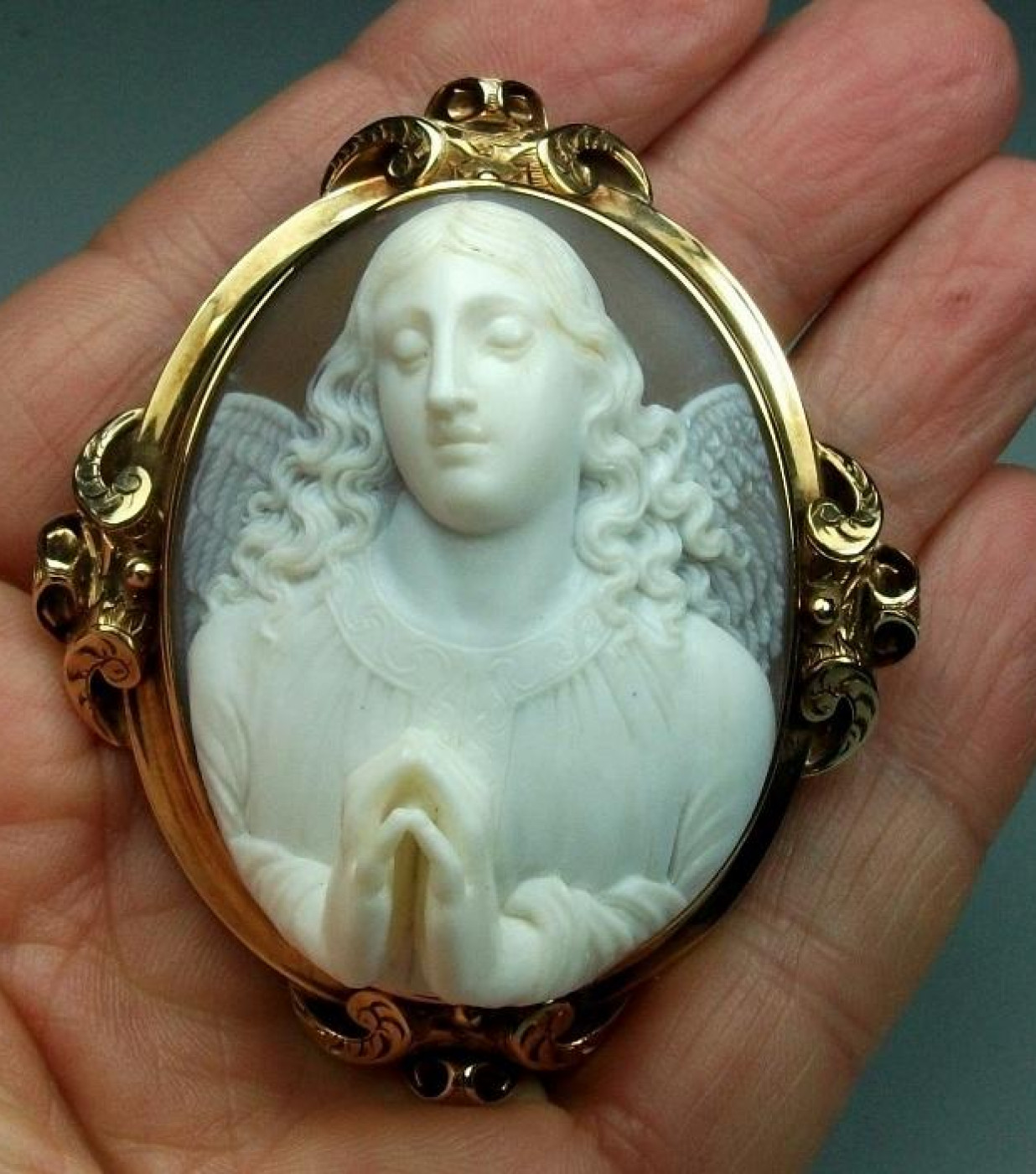 Outstanding Shell Cameo Brooch of   an Angel