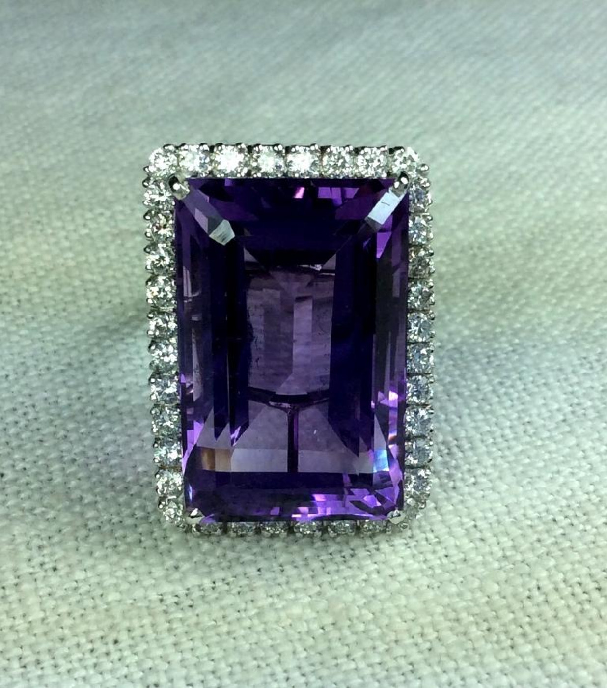 Wonderful Large Amethyst and Diamonds Ring