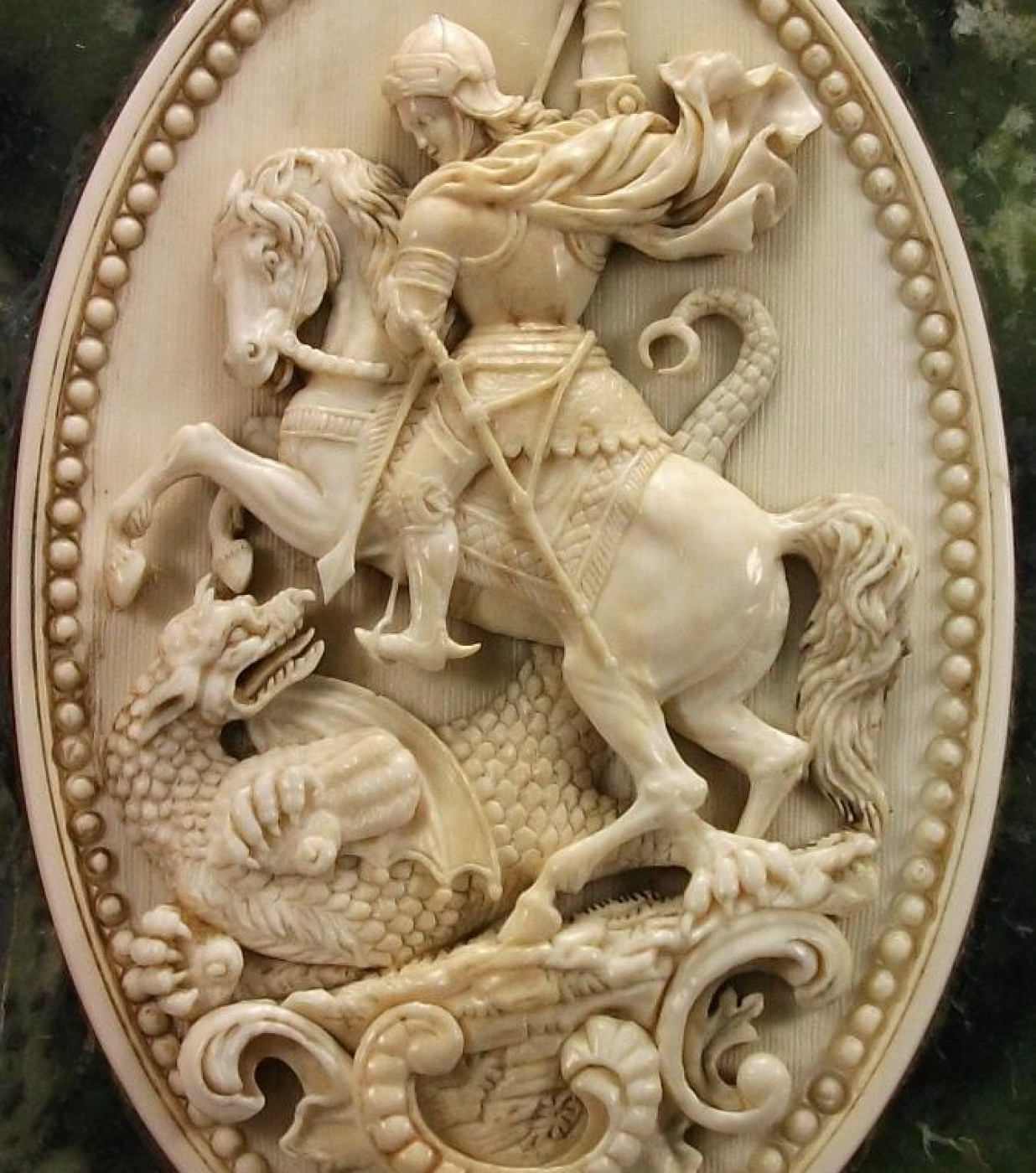 Rarest  Ivory Cameo of Saint George Slaying the Dragon