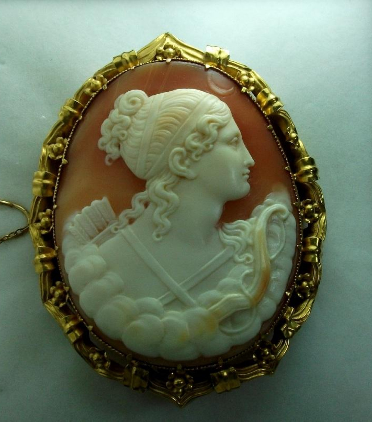 Museum Quality Shell Cameo of Goddess Diana