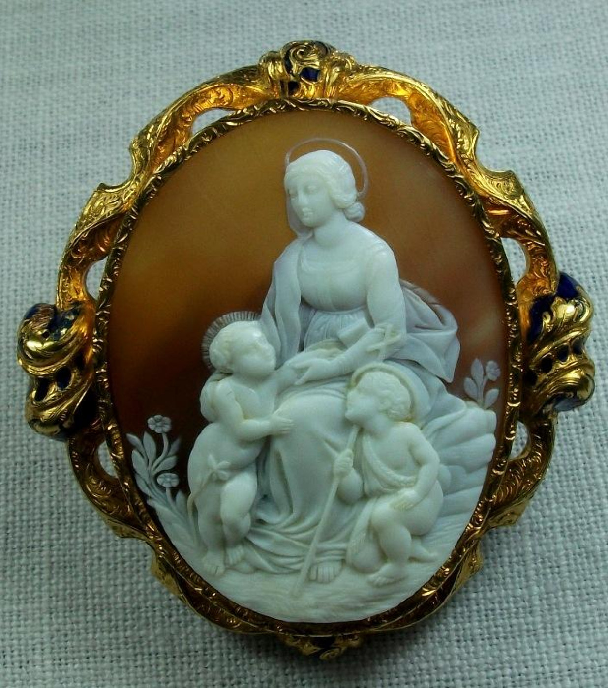 Rare Cameo of Madonna and Child after Raphael