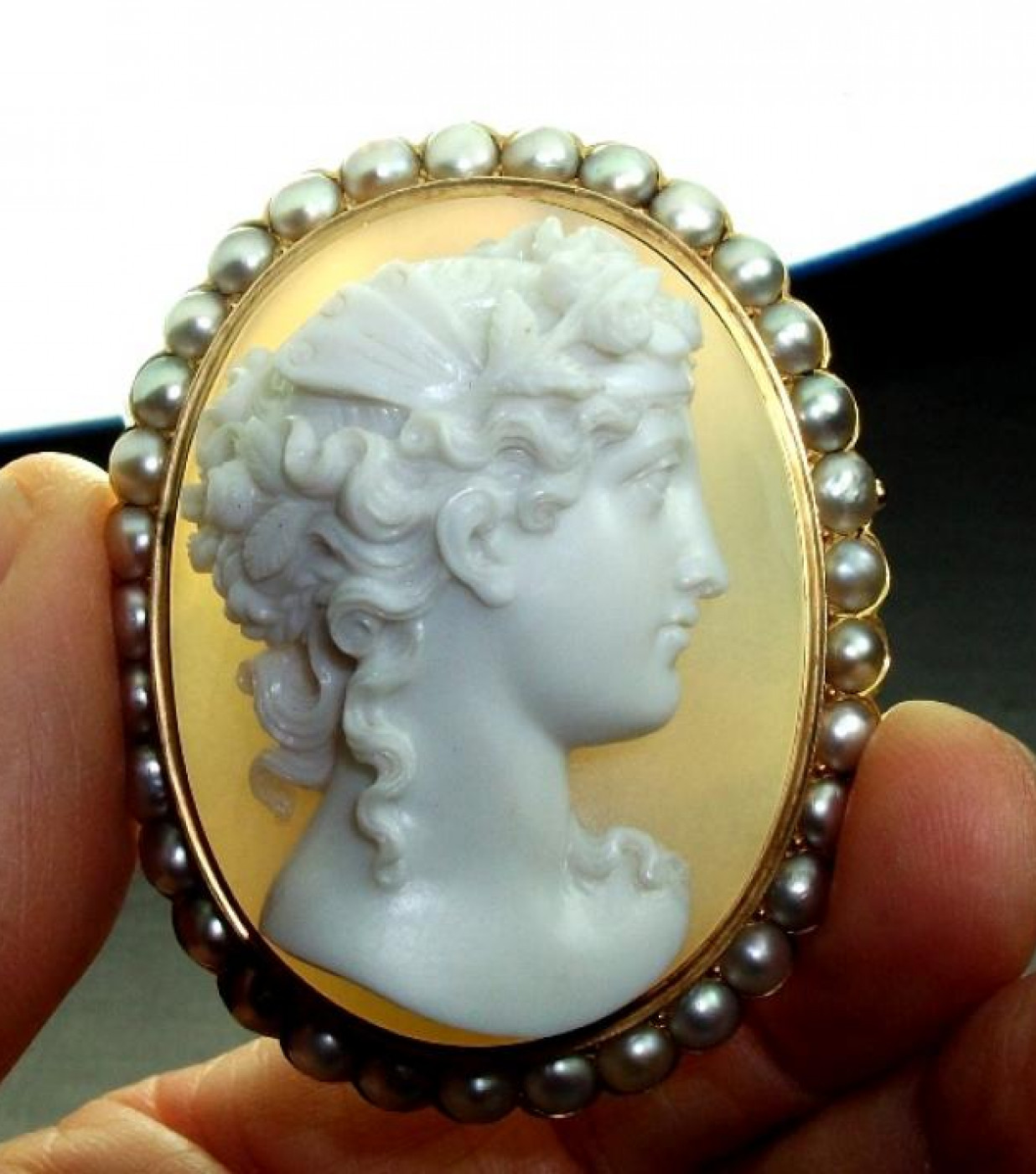 Outstanding Hard Stone Cameo of Psyche