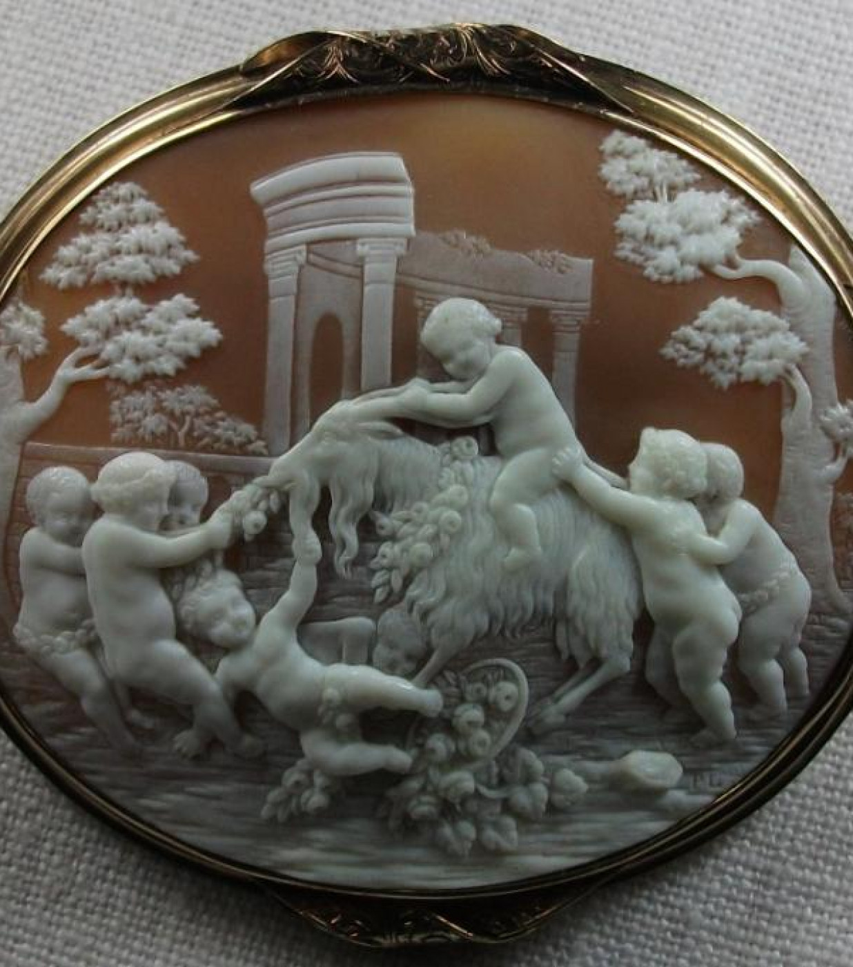 Rarest Cameo of Putti Playing with a Goat
